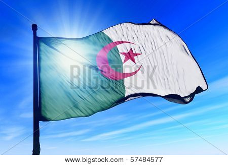 Algeria flag waving on the wind