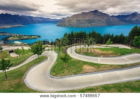 Luge track with beautiful lake and mountain