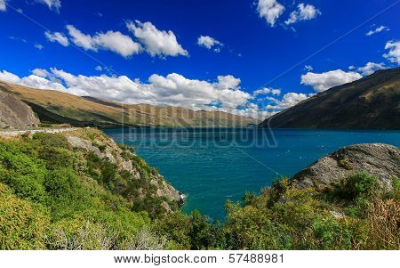 Road to beautiful lake Wakatipu Queenstown New Zealand