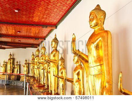 Golden Buddha Image In Wat Pho Temple ,bangkok ,thailand.