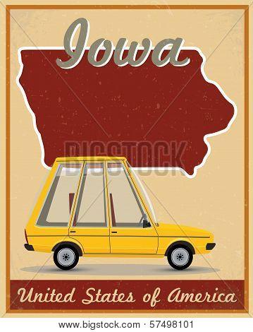 Iowa road trip vintage poster