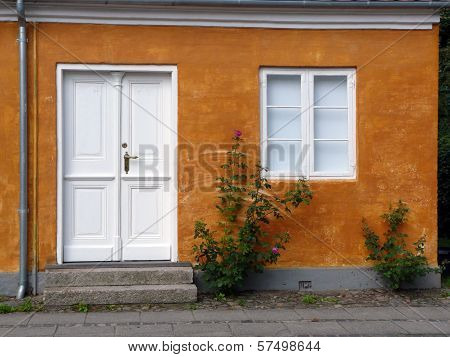 House With Rosebush In The Historic Village Of Christiansfeld In Denmark