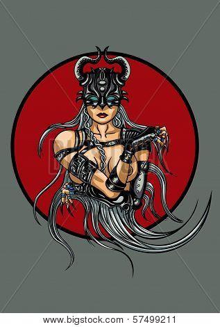 Fantasy demonic woman emblem