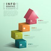 foto of cube  - modern vector abstract cube stair with house infographic elements - JPG