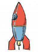 pic of missles  - hand drawn sketch cartoon illustration of rocket - JPG