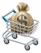 stock photo of trolley  - Money shopping cart trolley of a shopping cart or trolley with a large sack of money in it - JPG