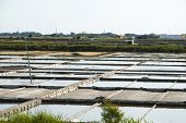 stock photo of crystal salt  - Salt evaporation ponds in salt farm Aveiro Portugal - JPG
