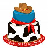 stock photo of sherif  - Cowboy cake for child birthday party with traditional decoration - JPG