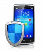 foto of antivirus  - Mobile security and antivirus protection concept - JPG