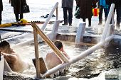 stock photo of epiphany  - traditional ice swimming on Orthodox Holy Epiphany Day