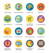 picture of pie  - This set contains 16 SEO and Internet Marketing Flat Icons that can be used for designing and developing websites - JPG