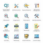 stock photo of generator  - This set contains 16 SEO and Internet Marketing Flat Icons that can be used for designing and developing websites - JPG