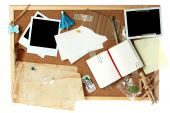 foto of bulletin board  - Cork board full of blank items for editing - JPG