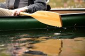 stock photo of canoe boat man  - close - JPG