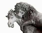 pic of horses eating  - Isolated detail of ancient sculpture depicting lion attacking a horse - JPG