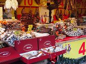 Saucisson stall in Christmas market, Paris