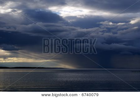Landscape With Cloudy Sky And Sunbeam