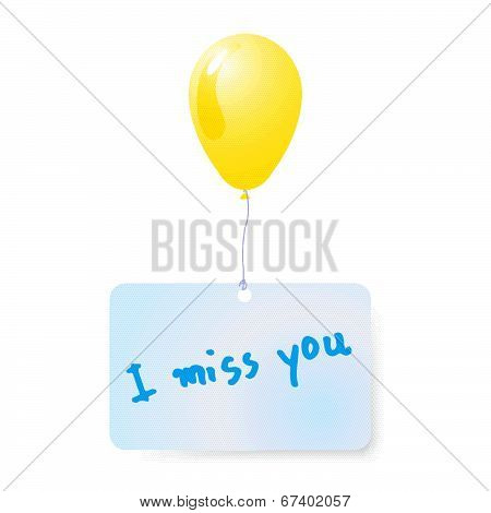 Balloon With I Miss You Tag Vector.eps