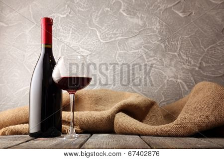 Bottles of wine with glass