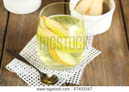 Sangria drink on wooden background