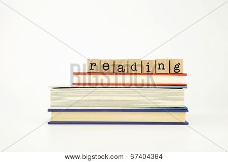 Reading Word On Wood Stamps And Books