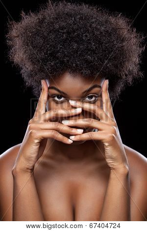 African Beauty Covering Face With Hands