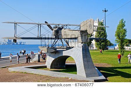Monument Of Biplane In Belem, Lisbon, Portugal