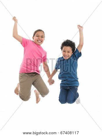 Active Joyful Kids Jumping With Joy