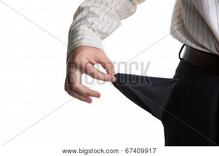 Man's Hand Turns Empty Pocket