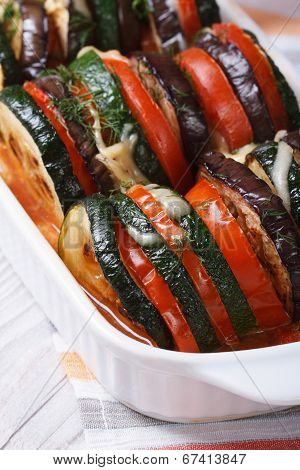 Eggplant, Zucchini And Tomatoes Baked With Cheese And Herbs