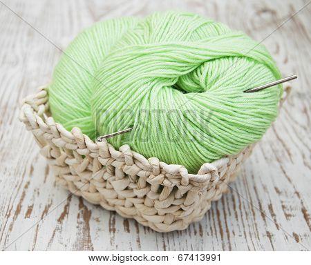 .green Yarns And Crotchet Hook