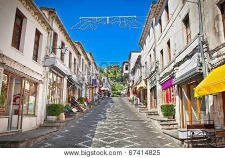 Main street  of historic town Gjirokasteron  in Gjirokaster, Albania. World Heritage Site by UNESCO.