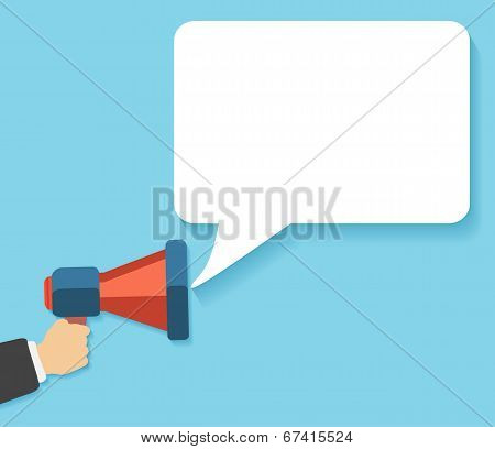 Hand Holding A Red Megaphone With Bubble