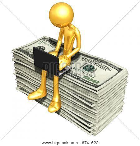 Chico de oro en línea con dinero