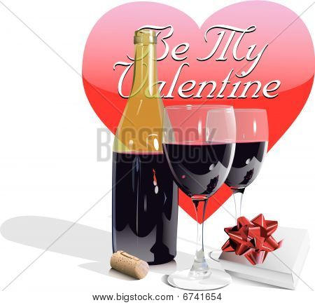 Valentines Day Wine Bottle-Glasses and gift-eps