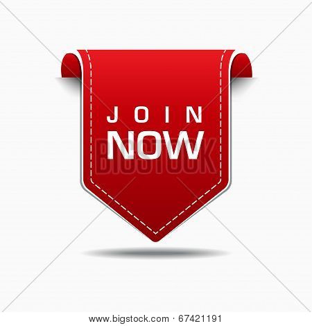 Join Now Red Label Icon Vector Design