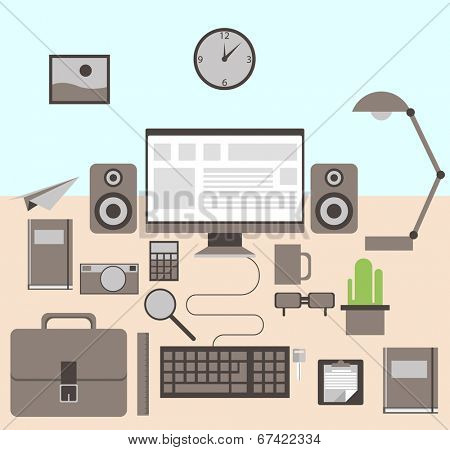 Flat modern design vector illustration concept of creative office workspace, workplace. Icon collection in stylish colors of business work flow items and elements, office things,equipment, objects.