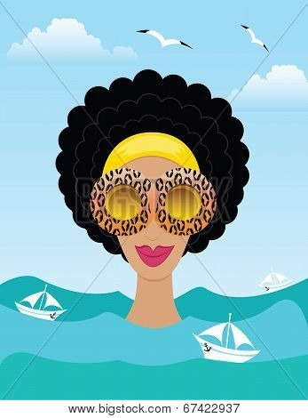 woman on the sea or ocean