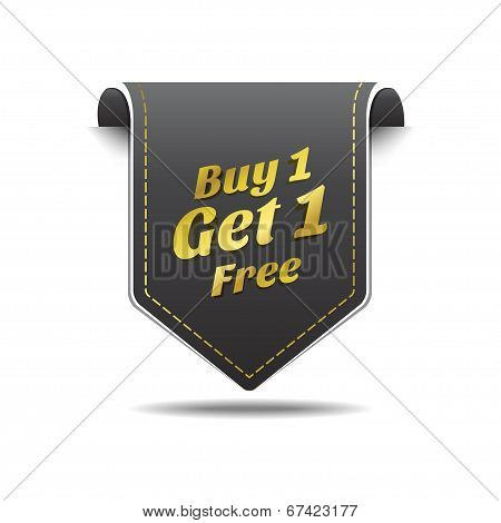 Buy 1 Get 1 Gold Black Label Icon Vector Design