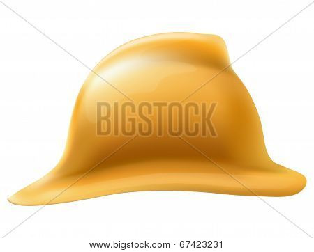 Gold fireman helmet side view. Isolated on white background. Bitmap copy.