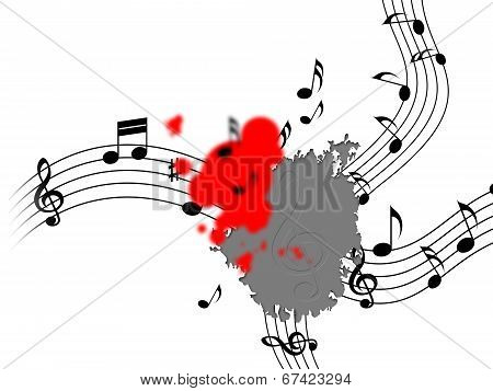 Splat Music Shows Musical Note And Clef
