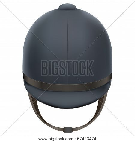 Jockey Helmet For Horseriding Athlete. Isolated On White Background. Bitmap Copy.