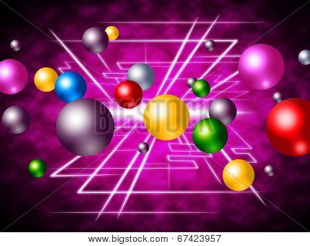 Colourful Technology Indicates Explode Spherical And Bubble