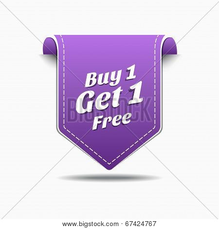 Buy 1 Get 1 Purple Label Icon Vector Design