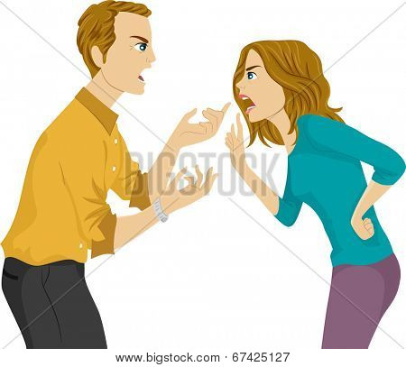 Illustration of a Husband and Wife Arguing