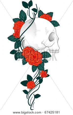 Illustration of a Tattoo Design Featuring a Skull with Vines and Roses Wrapped Around it