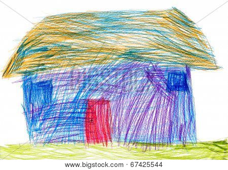 rural house. child drawing