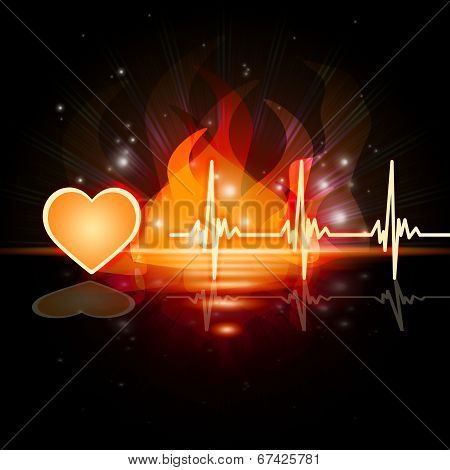 Heartbeat Fire Means Valentine Day And Cardiac