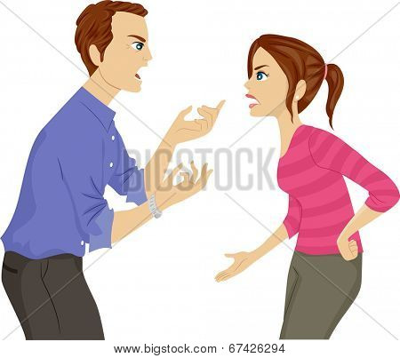 Illustration of a Father and Daughter Arguing