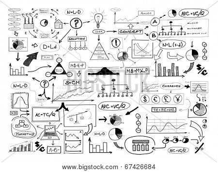 Black and white drawing of many different business elements. Finances, money, success and market concept.